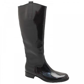 Gabor Brook-riding Style Long Boot Black Paten