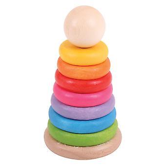 Bigjigs hračky mé první dřevěné duhové Stohovací kroužky