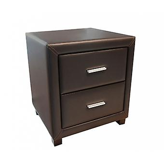 Dorset 2 Drawer Bedside Cabinet - Faux Leather - Brown