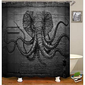 Elephant Octopus Monster Shower Curtain