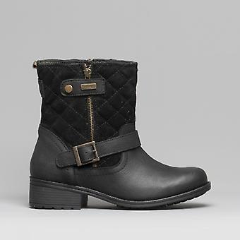 Barbour Sienna Ladies Leather Biker Boots Black