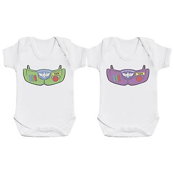 Space Armour Twin Boy & Girl, Baby Gift, Baby Boy Gift, Baby Girl Gift, Baby Boy Bodysuit, Baby Girl Bodysuit