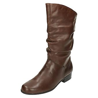 Ladies Leather Collection Pull Up Calf Length Boots F50694
