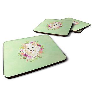 Set of 4  White Collie Green Flowers Foam Coasters Set of 4
