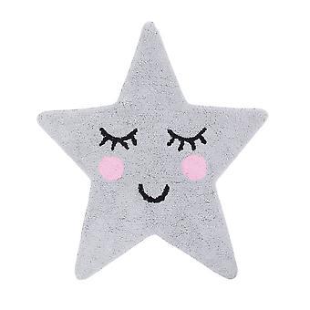 Grey Star Face Rug Childrens Bedroom Nursery