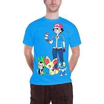 Pokemon T Shirt mens Ash Ketchum nya officiella spelet pojke Blå