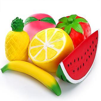 5 x Obst matschig Pack - Obst SQUISHIES Wassermelone Pfirsich-Erdbeer Banane & Mango Kawaii matschig Spielzeug - Stress Kugeln