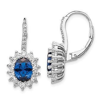 10mm Cheryl M 925 Sterling Silver Simulated Sapphire and Cubic Zirconia Leverback Earrings Jewelry Gifts for Women