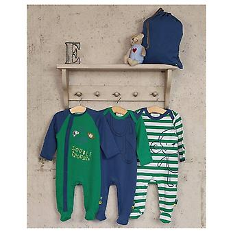 The Essential One 3 Pack Monkey Double Trouble Sleepsuits