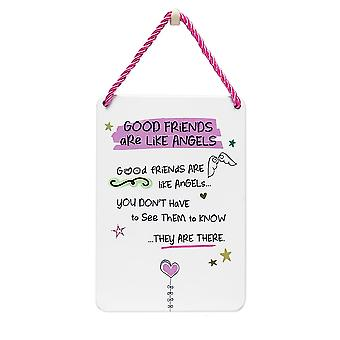 WPL Tin Plaque Good Friends Are Like Angels