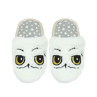 Harry Potter Hedwig Owl White Plush Girl's Slip-On Mule Slippers