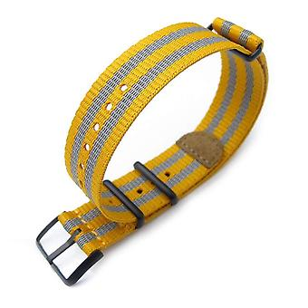 Strapcode n.a.t.o watch strap miltat 20mm g10 nato 3m glow-in-the-dark watch strap, pvd black - mustard and grey stripes