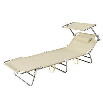 SoBuy OGS48-MI, Beach Folding Chair Sun Lounger with Adjustable Sun Shade and Backrest