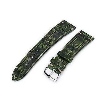 ストラップコードアリゲーターウォッチストラップ20mmまたは22mmミルタットイタリアの手作りアリゲーターベリーヴィンテージグリーンウォッチストラップ