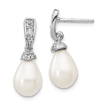 925 Sterling Silver Rhodium plated CZ Cubic Zirconia Simulated Diamond Freshwater Cultured Pearl Dangle Post Earrings Je