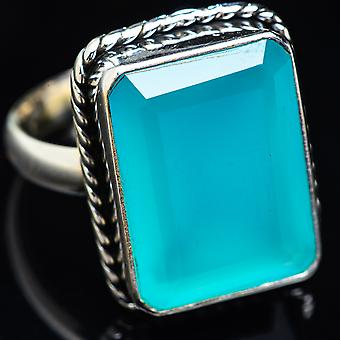 Large Aqua Chalcedony Ring Size 13 (925 Sterling Silver)  - Handmade Boho Vintage Jewelry RING3857