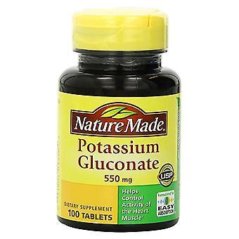 Nature made potassium gluconate, 550 mg, tablets, 100 ea