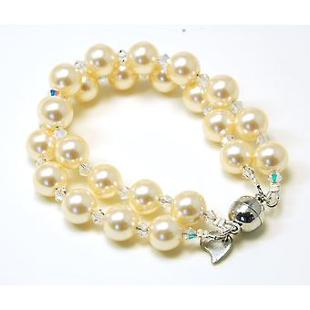 Kleshna Knot Lily Simulated Pearl & Rhinestone Bracelet, Magnetic Closure
