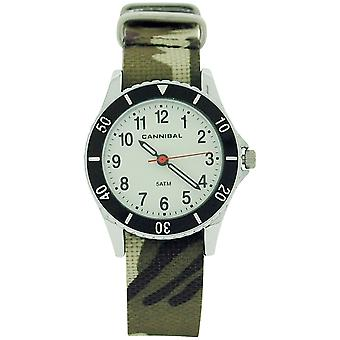 Cannibal Active Boys Analogue Brown and Green Army Camouflage Plastic Strap Watch CJ247-03