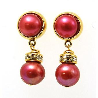 Toc Gold Plated Dyed Bittersweet Shimmer Freshwater Cultured Pearl Drop Earring