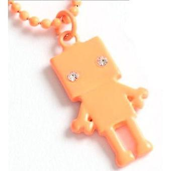 TOC Kids Neon Orange Glass Set Robot Pendant Necklace 16
