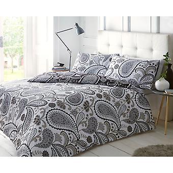 Paisley Black/Grey Bedding Set