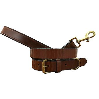 Bradley crompton genuine leather matching pair dog collar and lead set bcdc3tanbrown