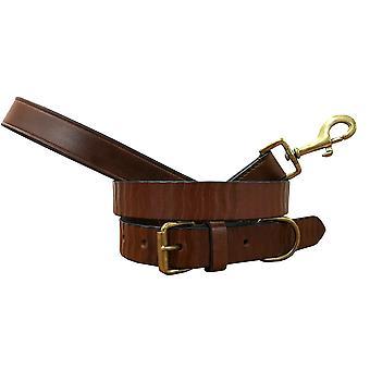 Bradley crompton véritable cuir correspondant collier de chien paire et lead set bcdc3tanbrown