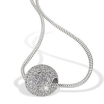 Goldmaid Silver Woman Necklace Oxidized Round White Cubic Zirconia 45cm Pa-C5519S
