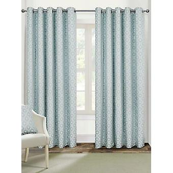 Belle Maison Lined Eyelet Curtains, Milano Range, 46x54 Duck Egg