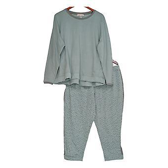 Stan Herman Women's Petite Pyjama Set Français Terry Tunique Set Blue A301849