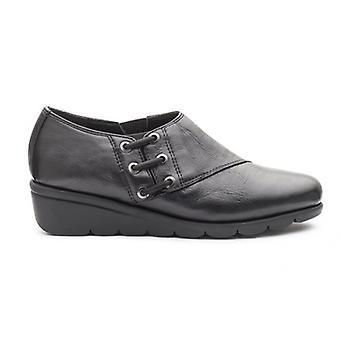 Padders Birch Ladies Couro Largo (e Fit) Sapatos Preto