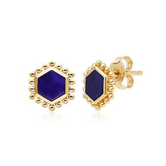 Lapis Lazuli Slice Stud Earrings in Yellow Gold Plated Sterling Silver 271E020703925