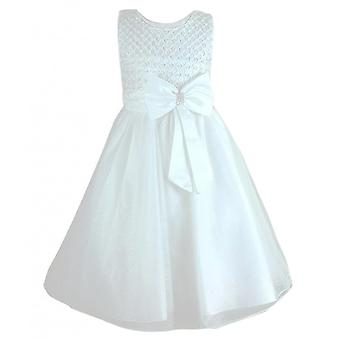 Girls New Diamante Big Bow Beaded Dress in Ivory