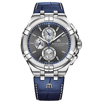Maurice Lacroix Men's Aikon | Blue Leather Strap | Grey Dial AI1018-SS001-333-1 Watch