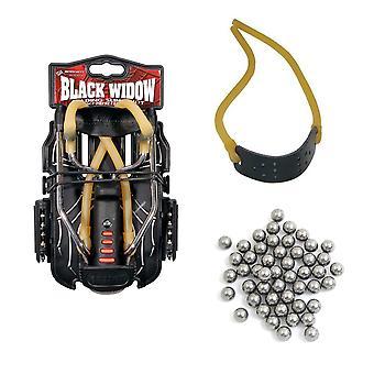 Genuine BARNETT BLACK WIDOW catapult starter pack - slingshot, ammo and elastic