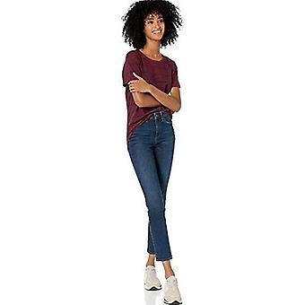 Märke - Goodthreads Women&s Washed Jersey Cotton Roll-Sleeve Open Crewneck T-Shirt, Bordeaux Stripe, X-Small