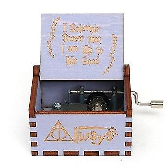 'i Solemnly Swear That I Am Up To No Good' Carved Hand Crank Wooden Music Box -