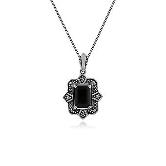 Art Deco Style Octagon Black Spinel & Marcasite Pendant Necklace in 925 Sterling Silver 214P297801925