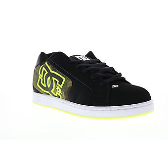 DC Net SE  Mens Black Leather Lace Up Skate Sneakers Shoes