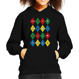 Hello Kitty Multicoloured Diamond Icons Kid's Hooded Sweatshirt