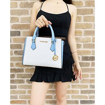 Michael kors hope medium messenger bag bright white mk blue + trifold wallet