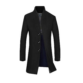 Men's Coat 80% Wool Content Classic Hooded Jacket Winter Stylish Trench Coat