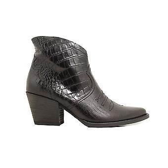 Paul Green 9666-03 Svart Krokodil Texturerat läder Womens Heeled Ankelstövlar