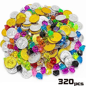 Children Pirate Gold Coin Gemstone Series Toys- Activity Draw Props Children's Game Props Halloween Christmas Gifts