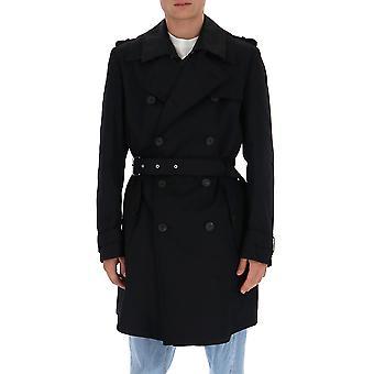 Les Hommes Ljq103352a9000 Men's Black Nylon Trench Coat