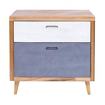 Rebecca Furniture Comodino Chest 2 White Brown Leather Drawers Blue 58x60x45