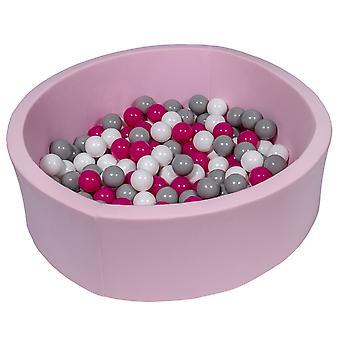 Różowy pit kulowy 90 cm ze 150 kulkami białymi, fioletowymi i szarymi