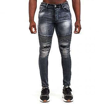 Glorious Gangsta Dimarni Slim Black Wash Ripped & Repaired Biker Denim Jeans