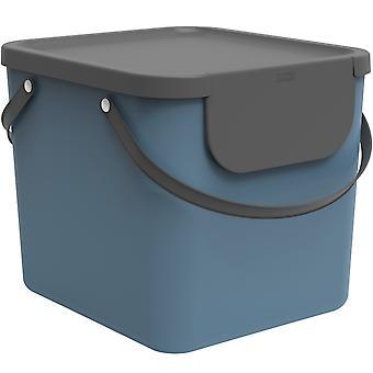 Rotho Albula Sistema de Separación de Residuos 40l para cocina, plástico (PP) libre de BPA, azul/antracita, 40l (40.0 x 35.8 x 34.0 cm)